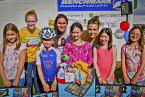 Winners of the 'Design the Logo' competition receiving their prizes from World Champions Sophie Thornhill, Dame Sarah Storey and Hannah Walker