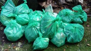 Bags of rubbish collected at autumn litter pick