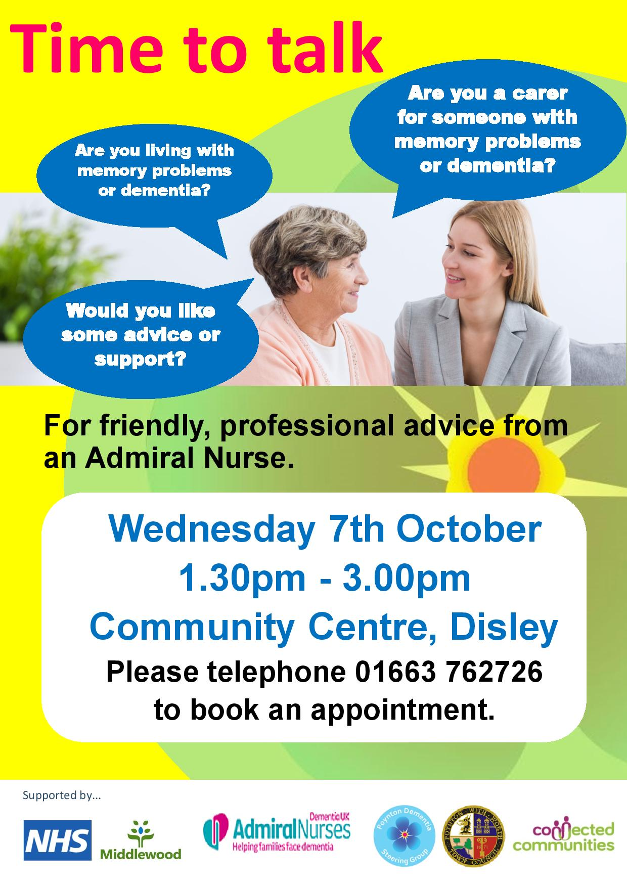 Time to Talk Dementia session Disley Community Centre