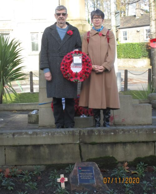 Cllr Cath Birchall and Cllr Steve Birchall laying a wreath on behalf of the Labour Party