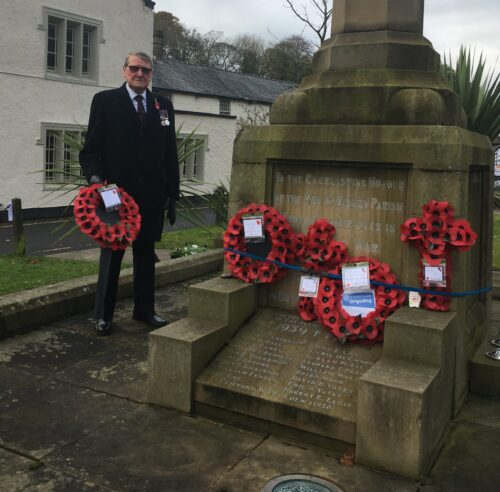 Peter Fagan laying wreath on behalf of Cuppa an a Chat