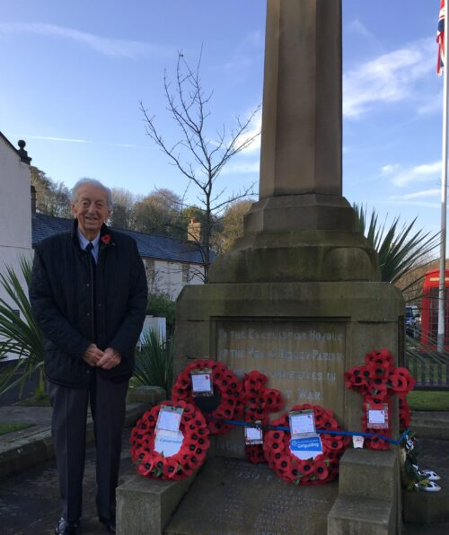 Ron Bonsanko laying wreath on behalf of Disley & Newtown Conservative Branch
